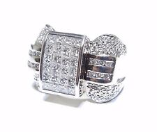 Mens 14k White Gold Round & Princess Cut 3.00ct Beautiful White Diamond Ring