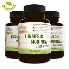 360 Organic Turmeric Moringa and Black Pepper Capsules: Curcumin Piperine 500 mg