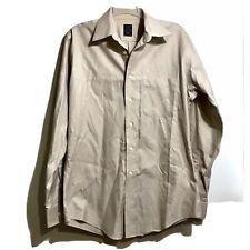 Joseph & Feiss Mens Taupe Textured Stripe Dress Shirt Sz 151/2 34/35