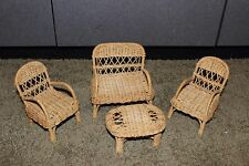 Vintage? Barbie Size Doll Wicker Furniture Patio Set  Couch 2 Chairs Table