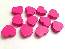 11 x 18mm New Fuschia Pink Flat Wood Hearts Side Drilled/Jeweller/Craft Making
