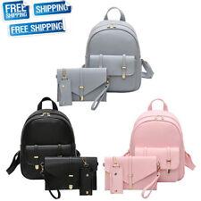 3Pcs Set Fashion Women Girls Travel PU Leather Backpack Tote School Shoulder Bag