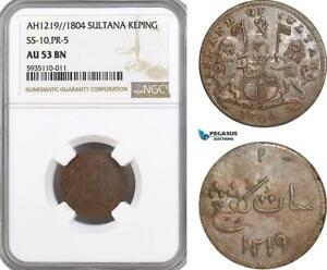 AG543, Netherlands East Indies, Singapore, 1 Keping AH1219 / 1804, NGC AU53BN