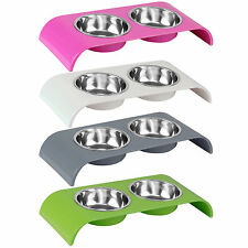 ME & MY DOUBLE FOOD/WATER PET FEEDING BOWL DOG/PUPPY/CAT/KITTEN NON SLIP DISH