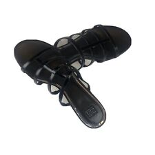 "White House Black Market Black Strappy 1"" Heels Size 10 Sandals Silver Heel New"