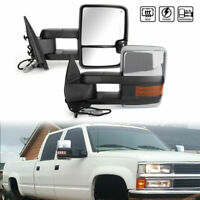 Amber LED Signal Power+Heated Towing Mirrors Chrome For 07-2013 Silverado Sierra