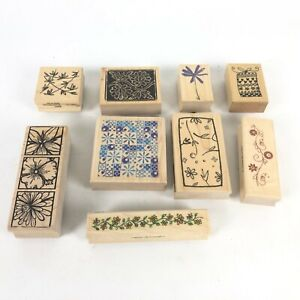 Lot of 9 Wooden Rubber Ink Stamps - Small