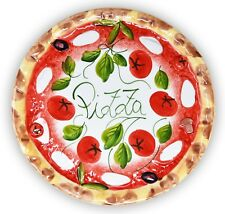 ital. Relief Keramik Pizzateller Tomate Mozzarella, großer Teller rund ca.33cm Ø