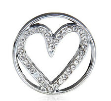 Charm Floating Locket 22mm silver discs Round for glass Living Memory heart HH01
