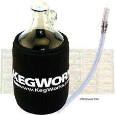 KegWorks Glass Beer Growler Kit w/ Filler - Draft/Craft Beer Gift Set- Bar Drink