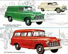Old Print. Green/Red 1956 Chevrolet Panel Truck, Suburban & Sedan Delivery