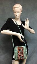 Raviani TQ Croco Embossed & Antique Persian Carpet Shoulder Bag Made In USA