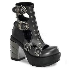 Demonia Sinister 61 Zapatos señoras Goth Picos Cremallera Tacón De Plataforma De Abs Cromado