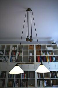 Original Berliner Messinglampe - Zugpendelleuchte, 80cm breit, Bestzustand!