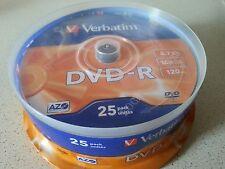25 DVD -R Verbatim 100% Vergini Vuoti 16X 4.7 GB 120 Minuti