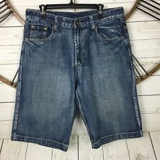 Mens Flypaper Denim Jean Shorts Size 33 Distressed Embroidered Pockets Sandblast