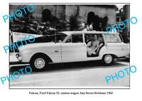 OLD LARGE PHOTO, 1963 FORD FALCON XL STATION WAGON, BRISBANE