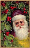 Christmas Postcard Purple Suited Santa Claus Face in Holly~125304