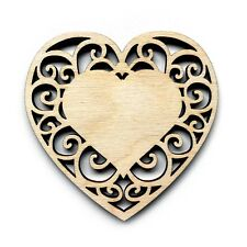 Birch Ply Wooden Lace Heart Intricate Craft Shapes Embellishment Decoration