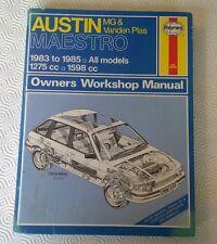 Austin Maestro & MG & Vanden Plas 1983-1985 Workshop Service Manual