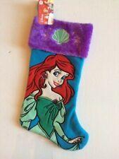 "Disney Princess Little Mermaid Ariel 19"" Deluxe Purple Aqua Christmas Stocking"