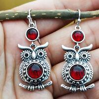 Vintage 925 Silver Jewelry Women Owl Ruby Engagement Drop Dangle Earring Gift