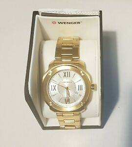 Gold Wenger Men's Analogue Quartz Watch with Stainless Steel Strap - 01.1141.122