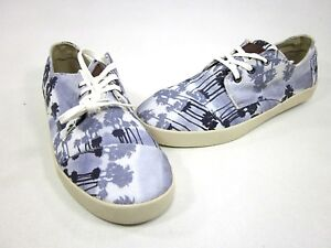 TOMS MEN'S PASEOS CANVAS UPPER CASUAL SHOES BLUE PALM TREES, SIZE 10.5, 11.5 NEW