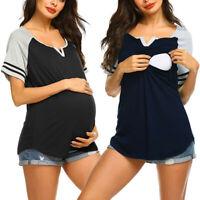 Women Maternity Casual Short Sleeve Nursing Splice Short Sleeve Tops T Shirt Tee