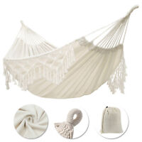 """Double Hammock Fringed Macrame Rope Hanging Swing Chair Outdoor Camping 95x59"""""""