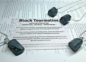 Black Tourmaline Small Gemstone Pendant Raw Schorl Stone Protection Necklace