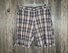 Boston Traders Men's Plaid Bermuda Shorts Size 34 Blue White