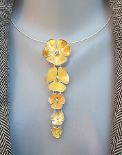 New PILGRIM Collar Necklace Swarovski Crystals enamel gold Flowers silver plated