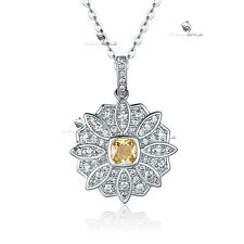 18K WHITE GOLD GF MADE WITH SWAROVSKI CRYSTAL FLOWER CITRINE PENDANT NECKLACE