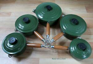 Genuine Le Creuset Five Pan Set Green Cast Iron Round Saucepans Pots With Lids