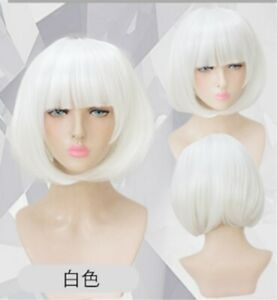 BOB head style White Neat Bang short Straight cosplay hair full Wig +a wig cap
