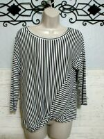 Anthropologie W5 Knit Top Size L Multi Colored Striped Short Sleeve Blouse