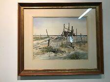 "Listed Artist PEARL SLOBODIAN 13"" x 17"" Seascape Beach Scene WATERCOLOR ON PAPER"