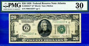 Highly Wanted - 1928 $20 FRN (( Atlanta STAR )) PMG Very Fine 30 # F00016287*-
