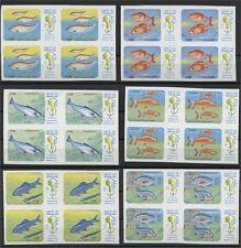 LAOS, FULL SET FISHS OF MEKONG RIVER 1983 IMPERFORATE IN BLOCKS OF 4