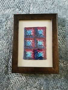 Miniature log cabin quilt, matted and framed