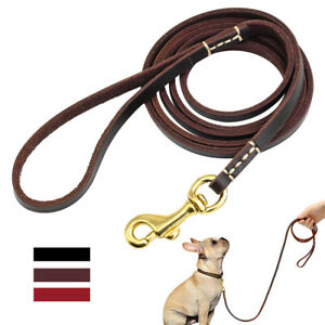 Genuine Leather Dog Leash for Small Dogs Training Walking Leads Puppy Brown Red