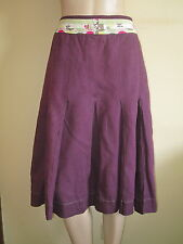 White Stuff ~ Purple Plum Linen Skirt with Inverted Inset Pleats ~ Size 10 L26""