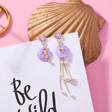 Crystal Shell Asymmetric Tassel Pearl Mermaid Women Dangle Earring Drop Earrings