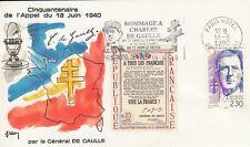 Enveloppe 1er jour timbrée GENERAL CHARLES DE GAULLE 1990 paris appel 18 juin
