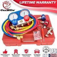 R134A R12 R22 R502 HVAC A/C Refrigeration Charging Manifold Gauge Kit Set 5FT US
