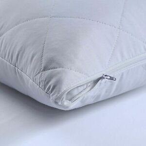 Luxury QUILTED PACK OF 4 PILLOW PROTECTORS  ZIPPED PILLOWS COVERS - Good Quality