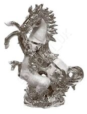 ITALIAN Silver CHROME HORSE WITH FOAL HOME DECOR ORNAMENT 25CM TALL GIFT NEW