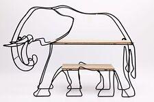 ELEPHANT SHAPED WALL SHELF, ANIMAL, BLACK WIRE, SCULPTURE, HOME DECOR,