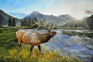 William John Jr Bull Elk at River First Light 24x36 Acrylic Landscape Painting